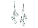 Sterling Silver Polished And Textured Bead Dangle Post Earrings style: QE8853