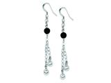 Sterling Silver Polished Black Onyx Bead Dangle Earrings style: QE8857