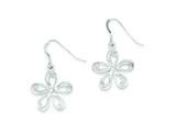 Sterling Silver Dangle Flower With Cubic Zirconia Post Earrings style: QE8931