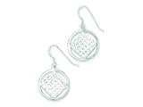 Sterling Silver Diamond Cut Square In A Circle Dangle Earrings style: QE8943