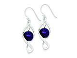 Sterling Silver Twist Dangle Amethyst Earrings style: QE8959
