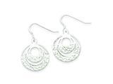 Sterling Silver Diamond Cut Circle Dangle Earrings style: QE8992