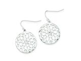 Sterling Silver Cubic Zirconia Circle Flower Dangle Earrings style: QE8996