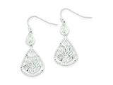 Sterling Silver Cubic Zirconia Diamond Cut Teardrop Dangle Earrings style: QE8997