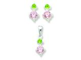 Sterling Silver Pink and Green Cubic Zirconia Earringsand Pendant Set - Chain Included style: QE8SET