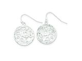 Sterling Silver Cubic Zirconia Circle With Swirls Dangle Earrings style: QE9003