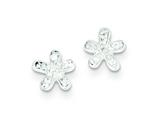 Sterling Silver Cubic Zirconia Flower Post Earrings style: QE9024