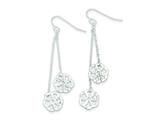 Sterling Silver Diamond Cut Flower Dangle Earrings style: QE9028