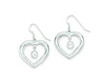 Sterling Silver Cubic Zirconia Polished Heart Dangle Earrings style: QE9029
