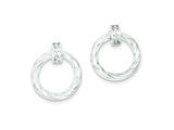 Sterling Silver Cubic Zirconia Twisted Circle Post Dangle Earrings style: QE9031