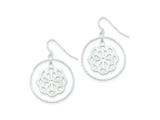Sterling Silver Bright Cut Circle And Flower Dangle Earrings style: QE9035