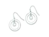 Sterling Silver Cubic Zirconia Bright Cut Circle Dangle Earrings style: QE9036