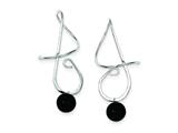 Sterling Silver Black Onyx Bead Spiral Earrings style: QE9068