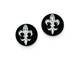 Sterling Silver Cubic Zirconia Fleur De Lis On Onyx Circle Stud Earrings style: QE9089