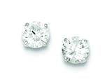 Sterling Silver Round Cubic Zirconia 8mm Post Earrings style: QE9098