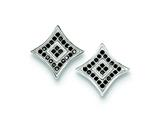 Sterling Silver Black And White Cubic Zirconia Pave Square Post Earrings style: QE9121