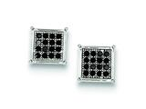Sterling Silver Black Cubic Zirconia Pave Square Post Earrings style: QE9124