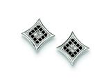 Sterling Silver Black And White Cubic Zirconia Pave Square Post Earrings style: QE9125