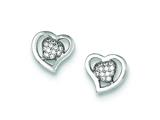 Sterling Silver Cubic Zirconia Heart Post Earrings style: QE9126