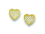 Sterling Silver Vermeil Cubic Zirconia Micro Pave Heart Post Earrings style: QE9128