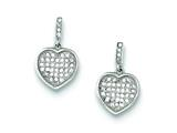 Sterling Silver Cubic Zirconia Pave Heart Dangle Post Earrings style: QE9131