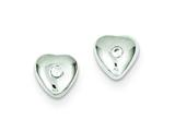 Sterling Silver Cubic Zirconia Heart Post Earrings style: QE9135