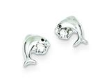 Sterling Silver Cubic Zirconia Dolphin Post Earrings style: QE9137