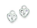 Sterling Silver Purple Cubic Zirconia Heart Lock and Key Post Earrings style: QE9141
