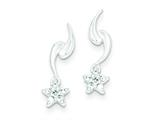 Sterling Silver Cubic Zirconia Star Dangle Post Earrings style: QE9146