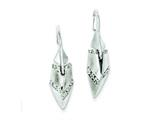 Sterling Silver Cubic Zirconia and Satin Polish Leaf Earrings style: QE9155