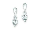 Sterling Silver Cubic Zirconia Heart Dangle Earrings style: QE9168