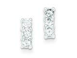 Sterling Silver Cubic Zirconia Post Earrings style: QE9169
