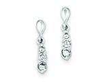 Sterling Silver Polished Cubic Zirconia Post Dangle Earrings style: QE9176