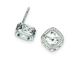 Sterling Silver Cubic Zirconia Square S Border Earrings style: QE9193