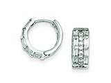Sterling Silver Cubic Zirconia 3 Row Channel Baguette Hinged Hoop Earrings style: QE9199