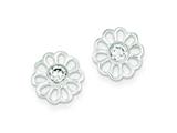 Sterling Silver Flower With Cubic Zirconia Post Earrings style: QE9216