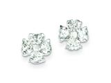 Sterling Silver Cubic Zirconia Flower Post Earrings style: QE9219