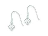 Sterling Silver Cubic Zirconia Flower Shepherd Hook Earrings style: QE9226