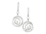 Sterling Silver Cubic Zirconia Swirled Hanging Circle Earrings style: QE9244