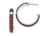 Sterling Silver Red and Clear Cubic Zirconia Half Hoop Post Earrings style: QE9246
