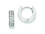 Sterling Silver Cubic Zirconia Hinged Hoop Earrings style: QE9260