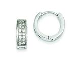 Sterling Silver Cubic Zirconia Hinged Hoop Earrings style: QE9261
