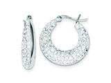 Sterling Silver Cubic Zirconia Hoop Earrings style: QE9268