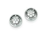 Sterling Silver Cubic Zirconia Round Post Earrings style: QE9278