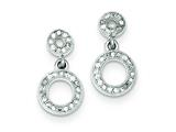 Sterling Silver Cubic Zirconia Micro Pave Double Circle Dangle Post Earrings style: QE9280