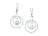 Sterling Silver Cubic Zirconia Open Circles Dangle Post Earrings style: QE9294