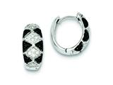 Sterling Silver Black and Clear Cubic Zirconia Hinged Hoop Earrings style: QE9305