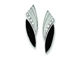 Sterling Silver Cubic Zirconia Matte Marquise Onyx Earrings style: QE9389