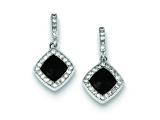 Sterling Silver Cubic Zirconia Pave Glass Black Stone Square Dangle Post Earrings style: QE9396
