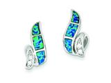 Sterling Silver Cubic Zirconia Blue Inlay Created Opal Twisted Earrings style: QE9406